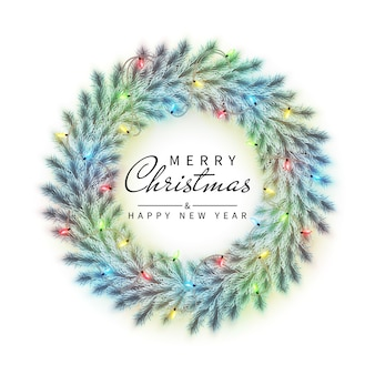 New year and christmas wreath Premium Vector