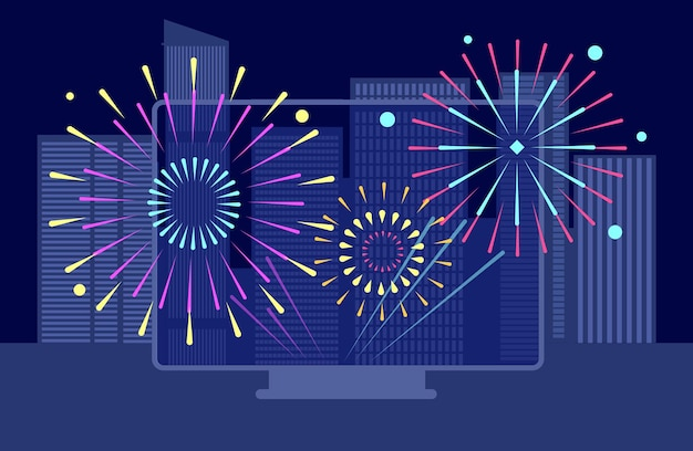 New year city firework. online festival, downtown night fireworks tv screen. buildings landscapes, asian celebration broadcast vector concept. illustration happy new year, celebration firework