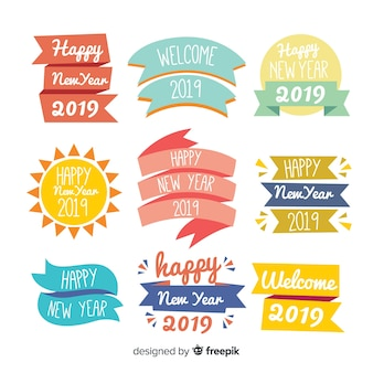 New year colorful badges collection