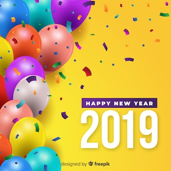 New year colorful balloons background