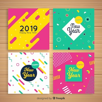New year colorful cards pack