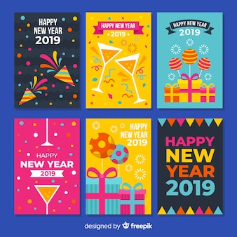 New year colorful elements cards pack