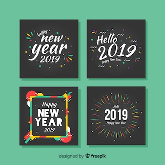 New year colorful frames cards pack
