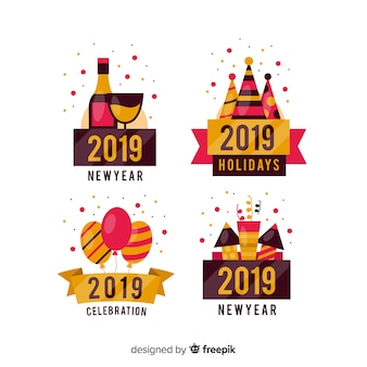New year colorful labels collection