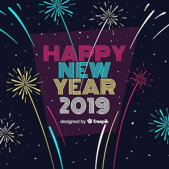 New year composition with flat design