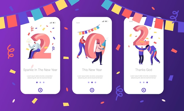 New year concept for mobile app page onboard screen set.