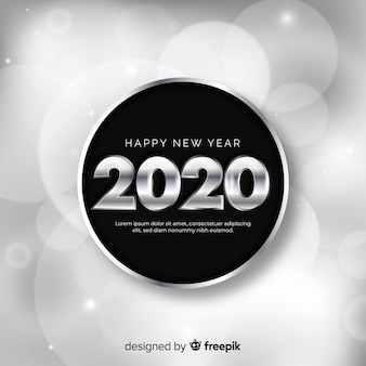 New year concept with silver design