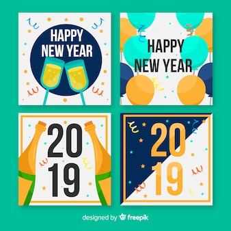New year confetti cards pack