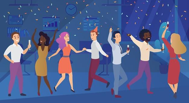 Новогодний корпоратив или празднование дня рождения в офисе. деловая команда счастливые люди празднуют