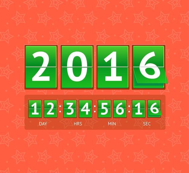 グリーンボードでの新年のカウントダウン。ベクトルイラスト