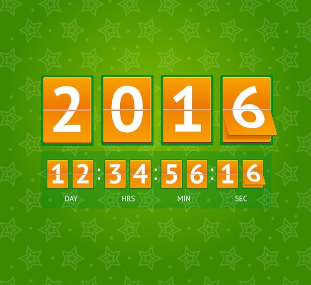 オレンジ色のボードの新年のカウントダウン。ベクトルイラスト