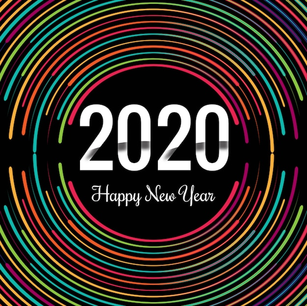 New year creative 2020 text greeting card template