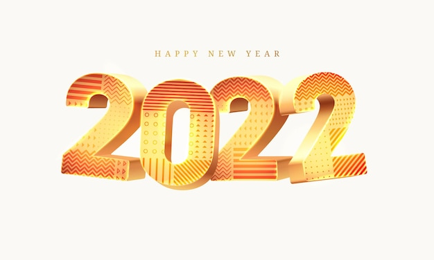 New year d illustration with golden digits and geometric pattern isolated on white