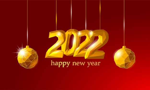 New year d low poly texture glowing shape red golden number illustration celebration decoration gold...