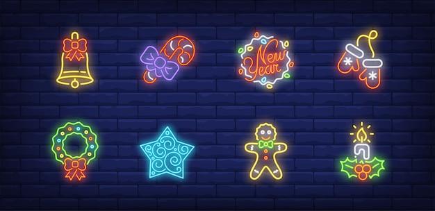 Simboli di arredamento di capodanno impostati in stile neon