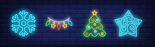 New year decoration in neon style collection