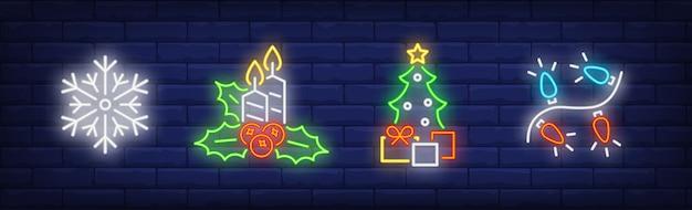 Simboli di decorazione di capodanno impostati in stile neon