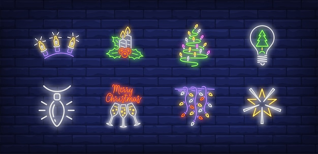 New year decoration symbols set in neon style