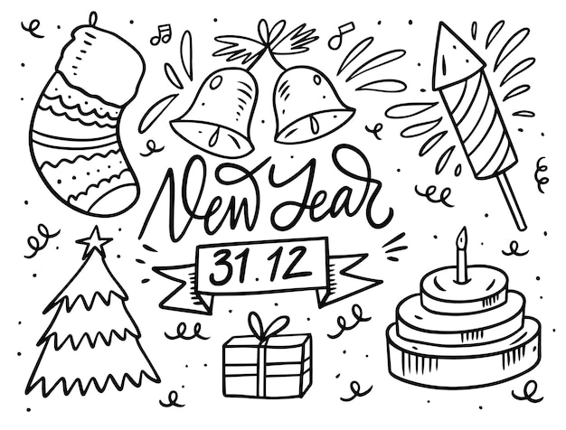 New year doodle set. black outline color in cartoon style.  isolated on white background.