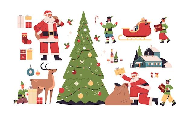 新年の要素は、メリークリスマスの休日のお祝いの概念のさまざまなアイコンコレクションの全長水平ベクトル図を設定します