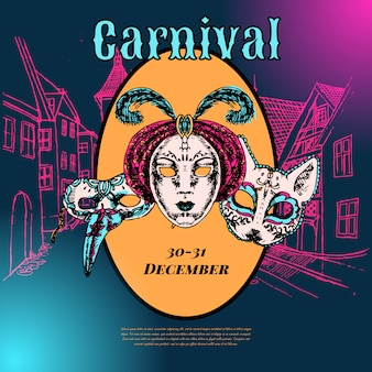 New year eve carnival event show advertising poster template with venetian style paper mache masks color vector illustration