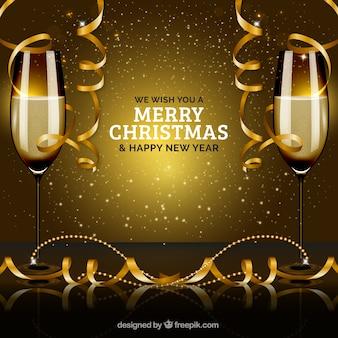 シャンパンのグラスで新年の前夜のパーティー