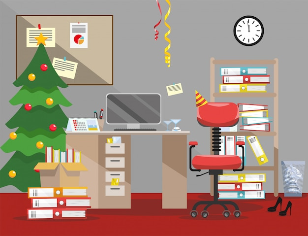 New year evening order on the desktop. pile of paper documents and file folders in cardboard boxes on the shelves. flat vector illustration christmas tree, clock and serpentine in the office interior
