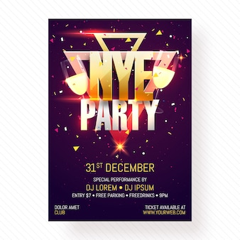 New year evening party poster, banner or flyer design.
