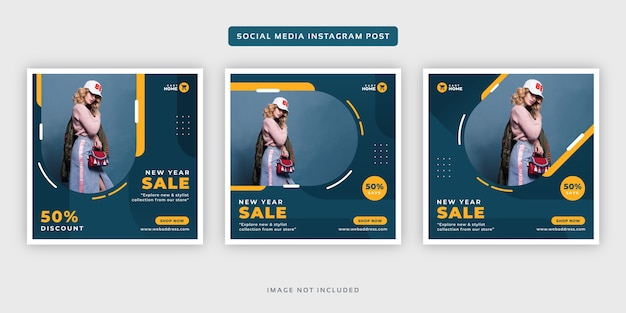 New year fashion sale banner social media instagram post set template