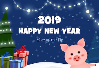 New Year festive poster design with cute piggy