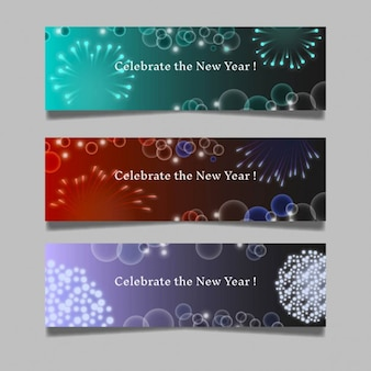 New year fireworks banners
