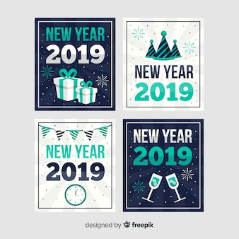 New year flat decoration cards pack