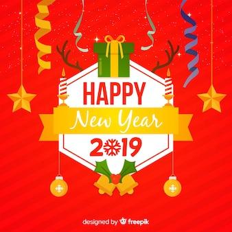 New year flat elements background