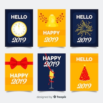 New year flat elements cards pack