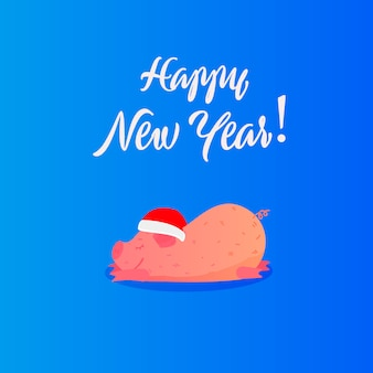 New year flat illustration with cute pig