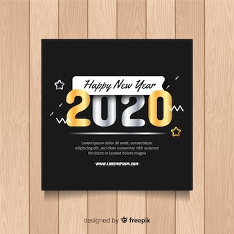 New year flyer template with stars
