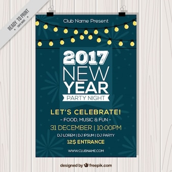 New year flyer with illuminated garlands