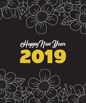 New year frame flower hand drawn template