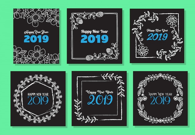 New year frame hand drawn flower template