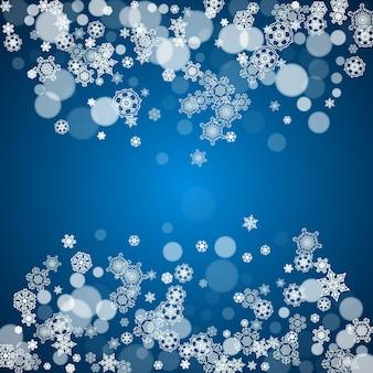 Новогодняя рамка с холодными снежинками на синем фоне. зимнее окно. новогодняя и новогодняя рамка для подарочных сертификатов, рекламы, баннеров, флаеров, предложений по продаже, приглашений на мероприятия. падающий снег и боке