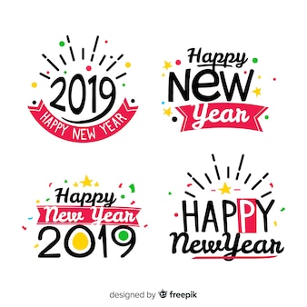 New year fun stickers collection