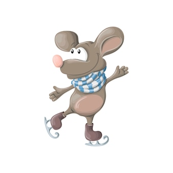 New year, funny happy mouse or rat skates