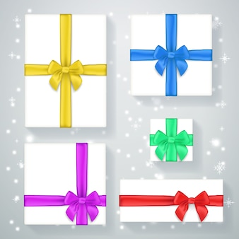 New year gift box poster. present for holiday, xmas and bow, celebration and greeting, ribbon vector illustration