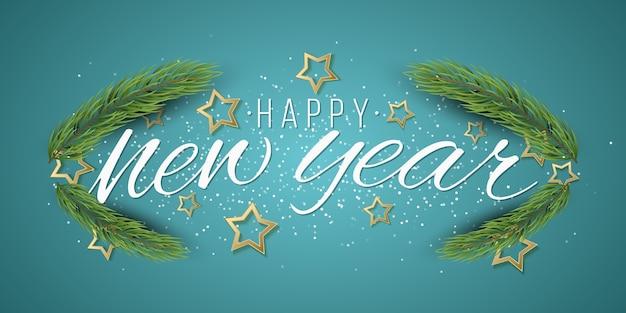 새해 선물 카드. 크리스마스 트리 프레임과 밝은 배경에 황금 별.