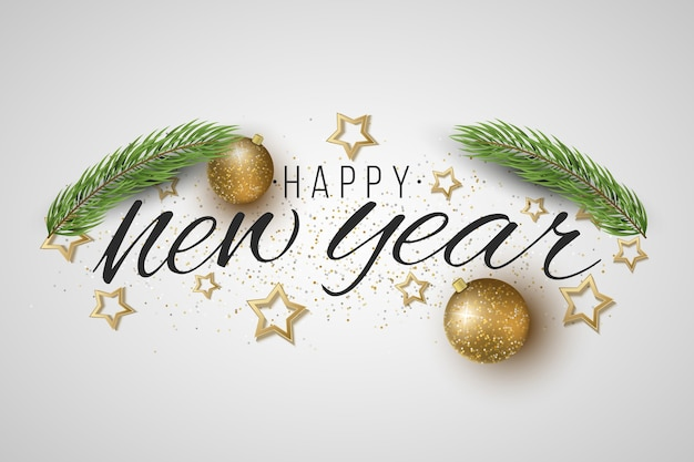 새해 선물 카드. 크리스마스 트리, 빛나는 공, 밝은 배경에 별.