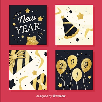 New year glitter details cards pack