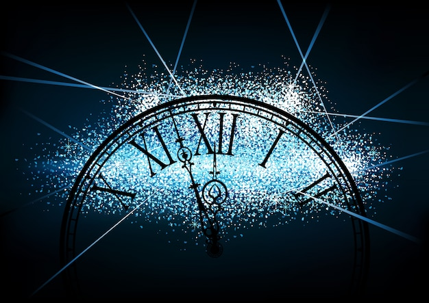 New year glittering background with a clock face