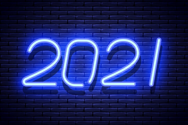 New year glowing blue neon signboard on brick wall.  illustration.