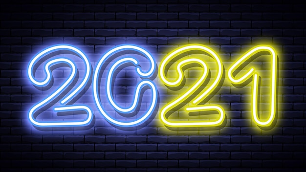 New year glowing blue and yellow neon signboard on brick wall. vector illustration.
