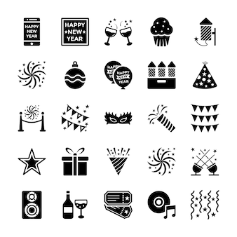 New year glyph icons set